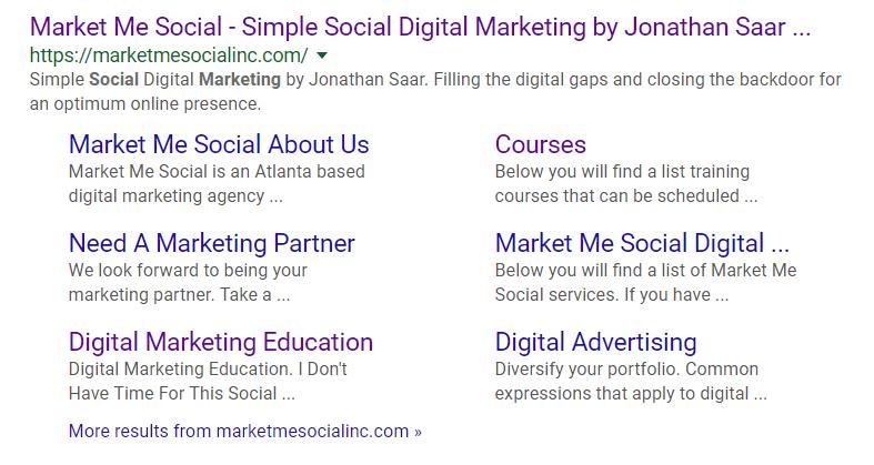 Google Sitelinks example